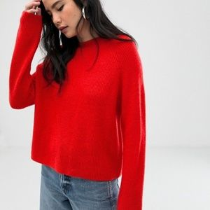 ASOS Design Fluffy Sweater in Rib Knit - Red